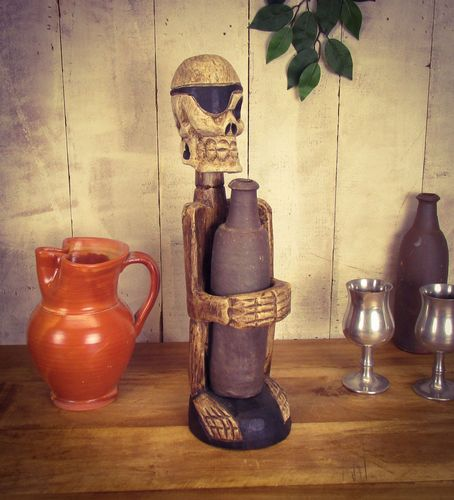 Wooden Hand Carved Skeleton Bottle Holder